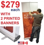 "Wide Roll Up 36*79"" (Double-Sided) + 2 Printed Banners"