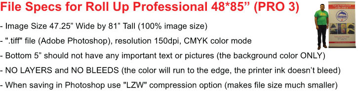 Roll Up PRO 3 File Specs
