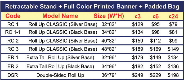 Roll Up CLASSIC with Print Prices