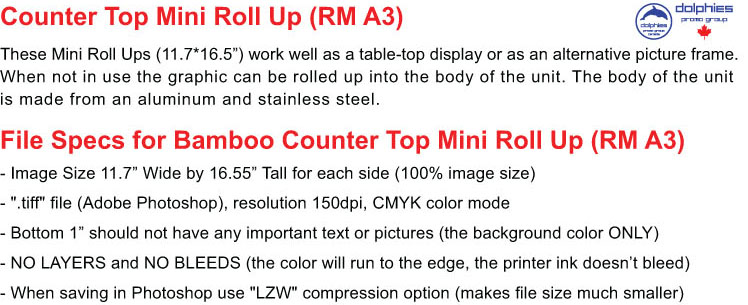 Roll Up RM A3 File Specs